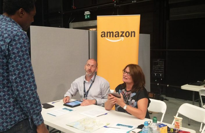 Travel engagement team at Amazon warehouse in Tilbury