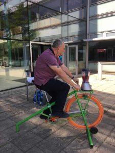 A man on a static bike