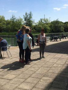A walking workshop taking place