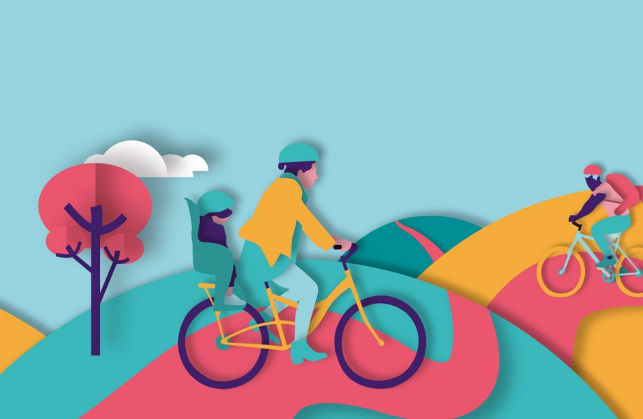 Biking over hills illustration