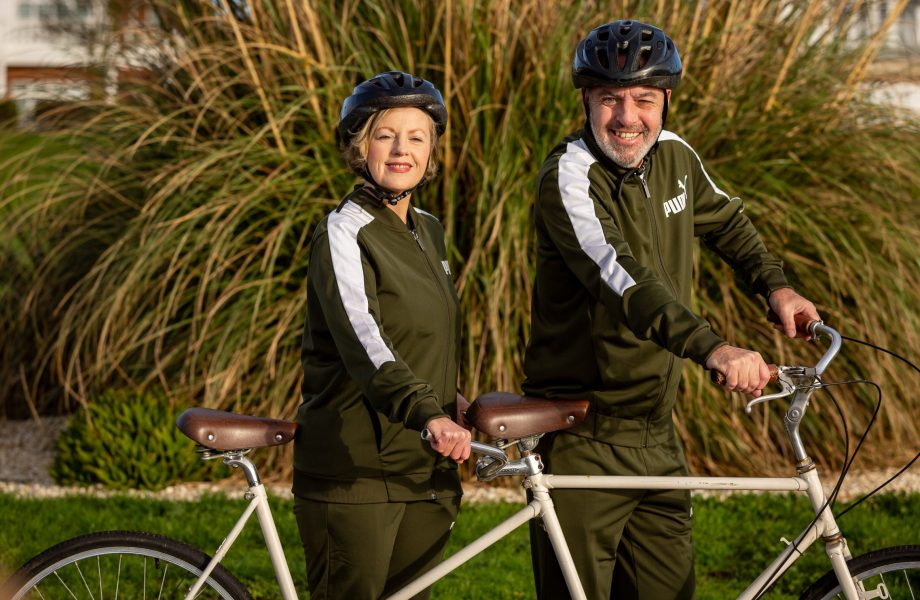 couple with tandem bike